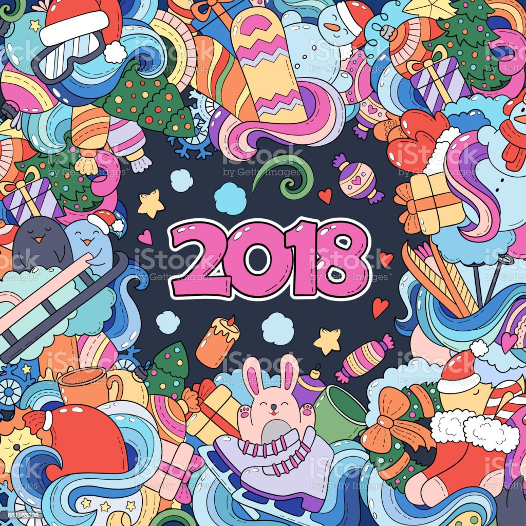 doodle cartoon christmas new year card color card hand lettering 2018 vector hand drawn