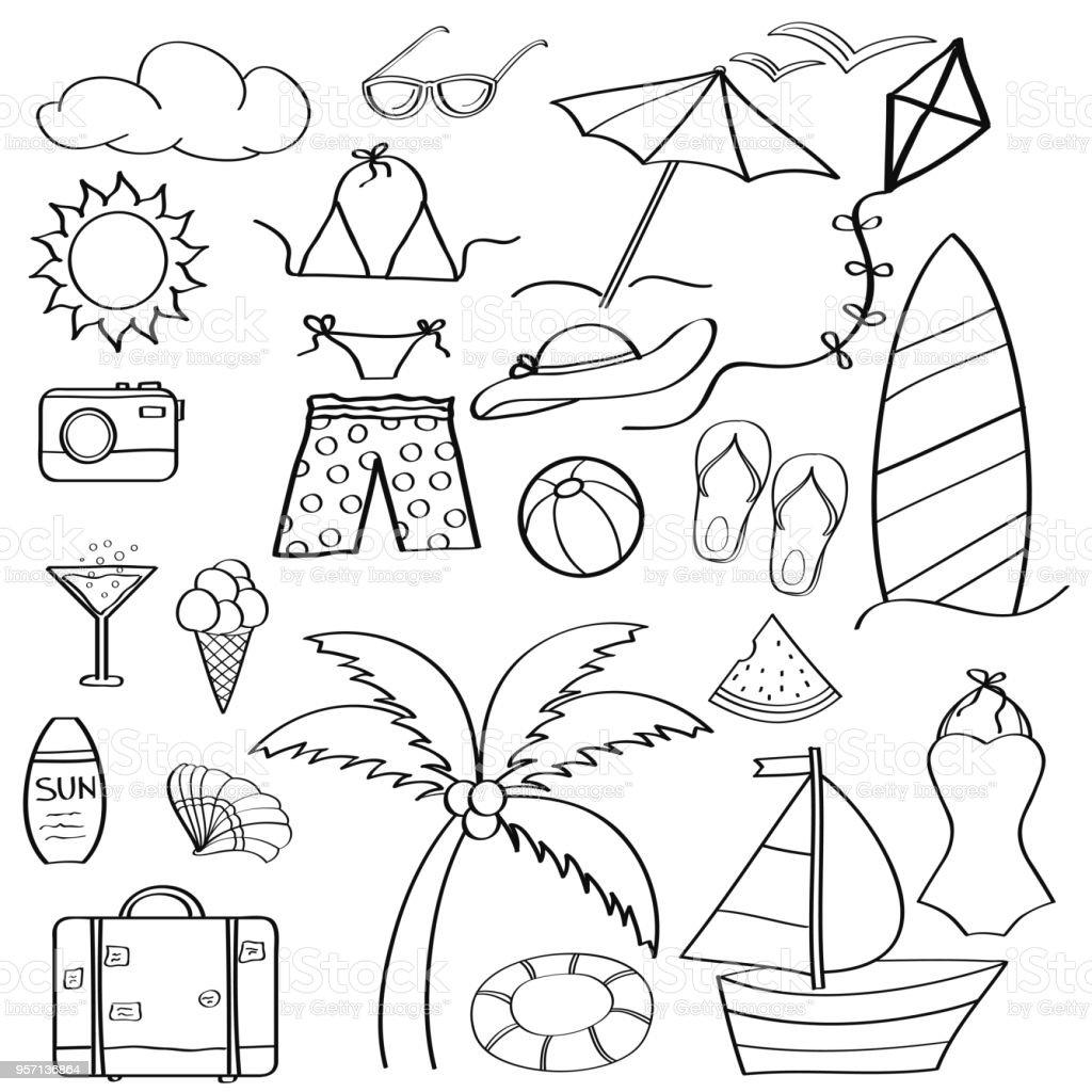 çizgi Film öğeleri Yaz Tatil Koleksiyonu Boyama Doodle Stok Vektör