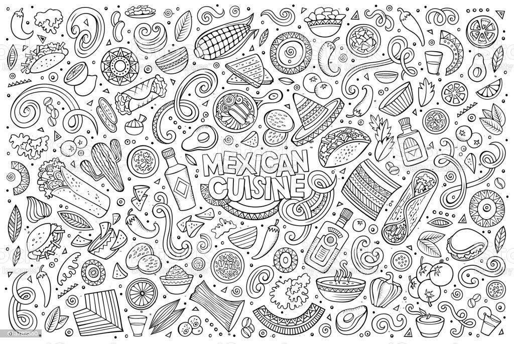 Doodle cartoon set of Mexican Food objects - ilustración de arte vectorial