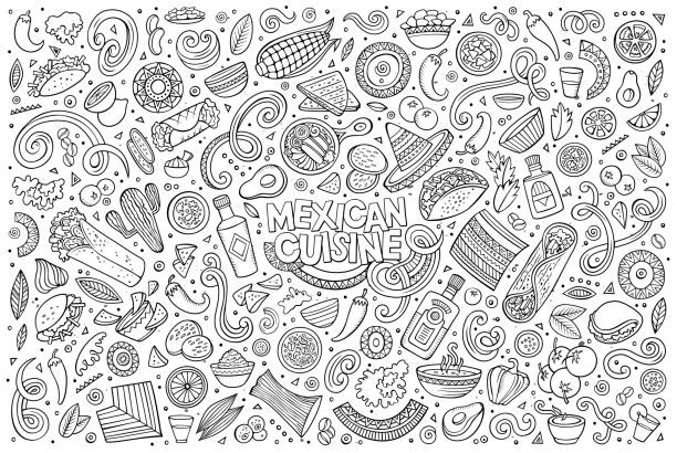 doodle cartoon set of mexican food objects - mexican food stock illustrations, clip art, cartoons, & icons