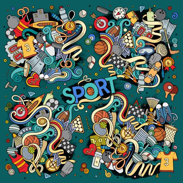 doodle cartoon set of sport designs - sports equipment stock illustrations, clip art, cartoons, & icons