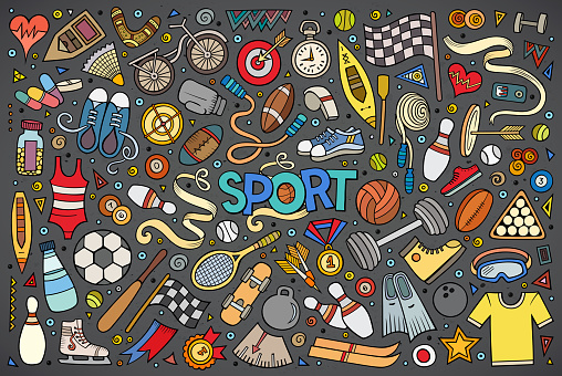 Doodle cartoon set of Sport objects and symbols