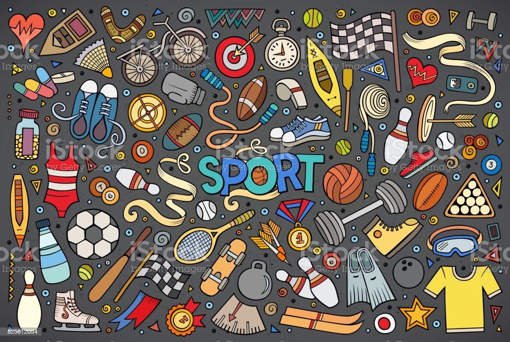 Doodle cartoon set of Sport objects and symbols vector art illustration