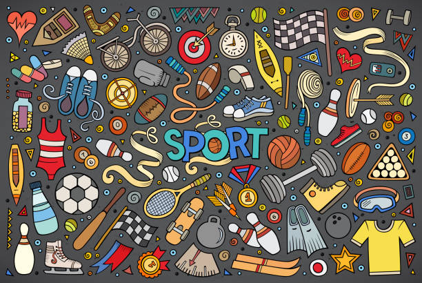 doodle cartoon set of sport objects and symbols - sports equipment stock illustrations, clip art, cartoons, & icons