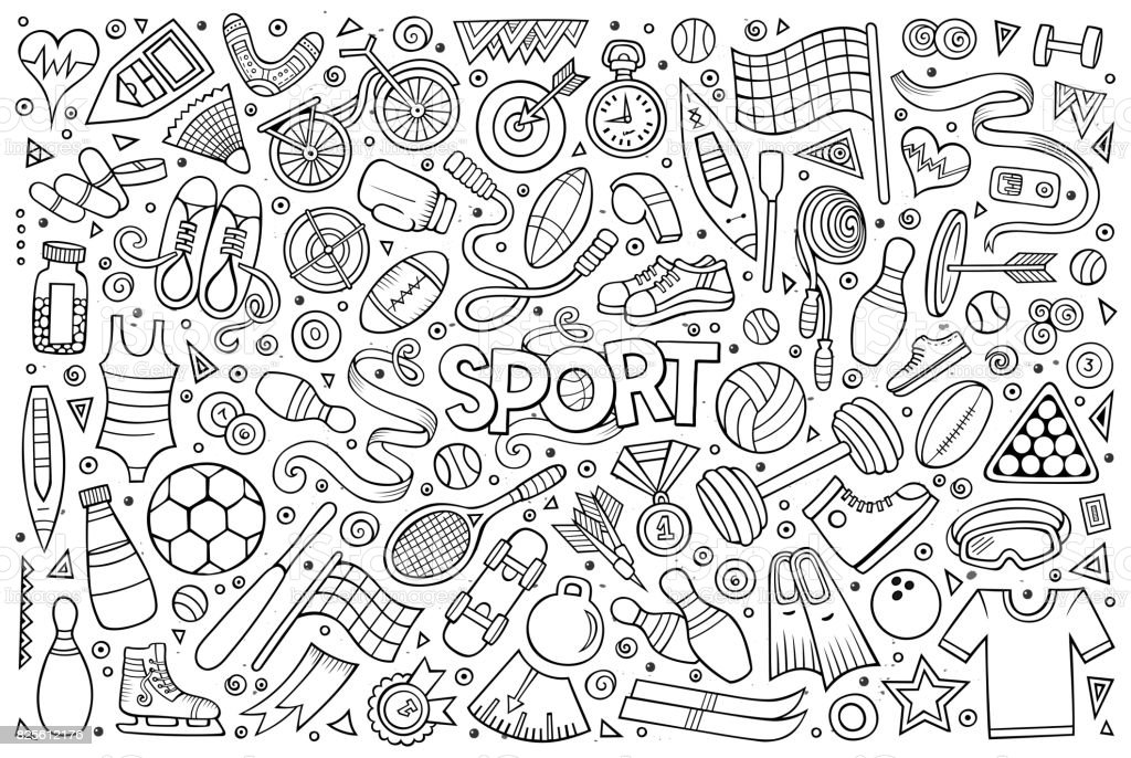 Doodle dibujos animados conjunto de símbolos y objetos de deporte - ilustración de arte vectorial