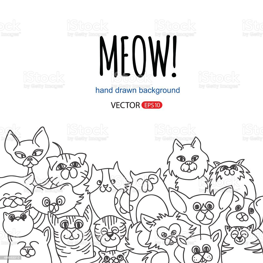 doodle cat background vector art illustration