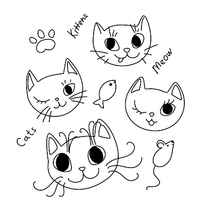 Doodle Cat Faces with Text, Funny Design Element Set. Hand Drawn Kittens with Paw, Mouse and Fish with Editable Stroke Isolated on White Background.