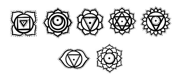 Doodle chakras. Yoga meditation chakras set. Chakras coloring page.