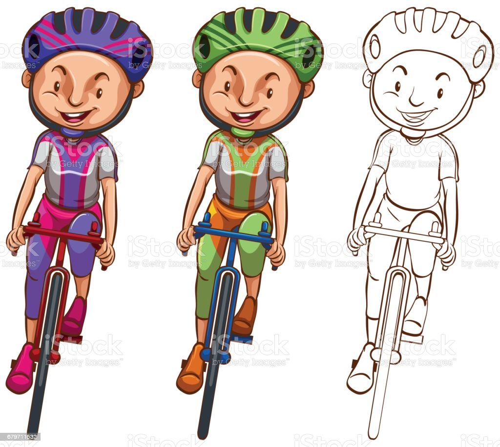 Doodle Character For Man Cycling Stock Illustration - Download Image