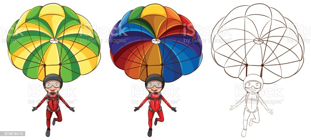 Doodle character for man parachute vector art illustration