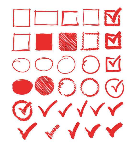 Doodle Häkchen Kreis quadratischeRahmen-Set-Sammlung. Vektor flache Grafik-Design-Illustration – Vektorgrafik