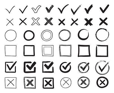 Doodle check marks. Hand drawn checkbox, examination mark and checklist marks. Check signs sketch vector illustration set