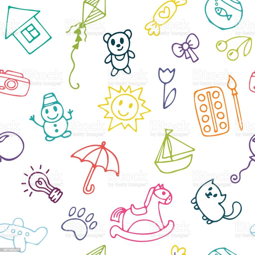 doodle children drawing background seamless pattern for cute little girls and boys sketch set