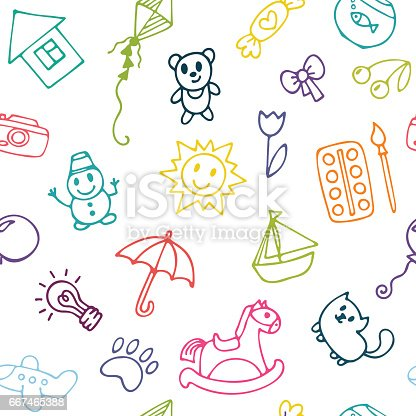 istock Background for little boys and girls. Hand drawn children ...