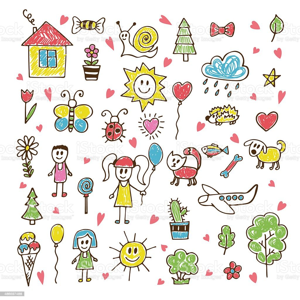 doodle children drawing hand drawn set royalty free stock vector art