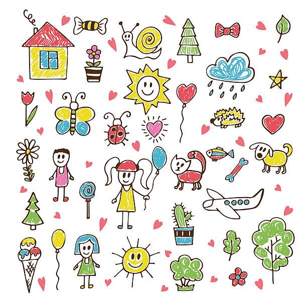 bazgroły dzieci rysunek. rękę wyciągnąć zestaw - happy holidays stock illustrations