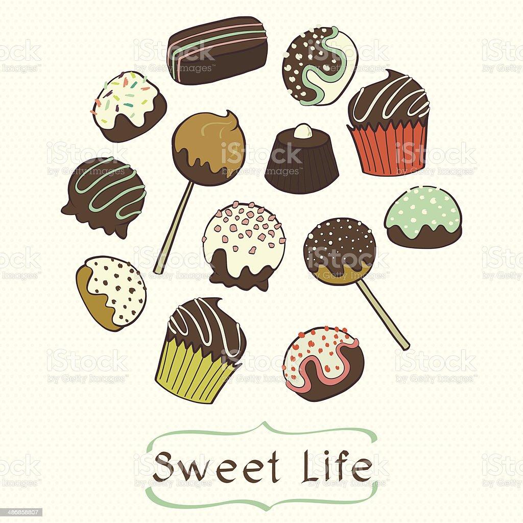Doodle chocolate candies vector art illustration