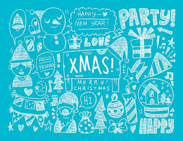 gekritzel weihnachten hintergrund - dompfaff stock-grafiken, -clipart, -cartoons und -symbole