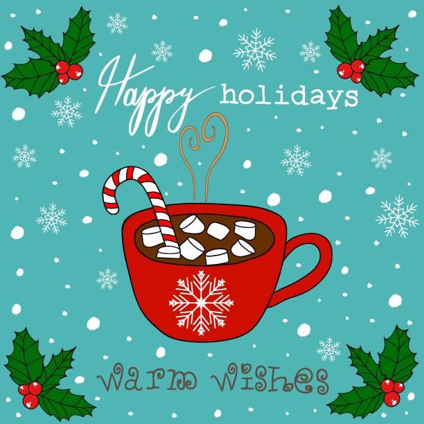 doodle christmas card red becher mit heißer schokolade kakao marshmallows zuckerstange stick weiße schneeflocken babyblau hintergrund. mistel herzliche wünsche frohe feiertage schriftzug. - weihnachtsschokolade stock-grafiken, -clipart, -cartoons und -symbole