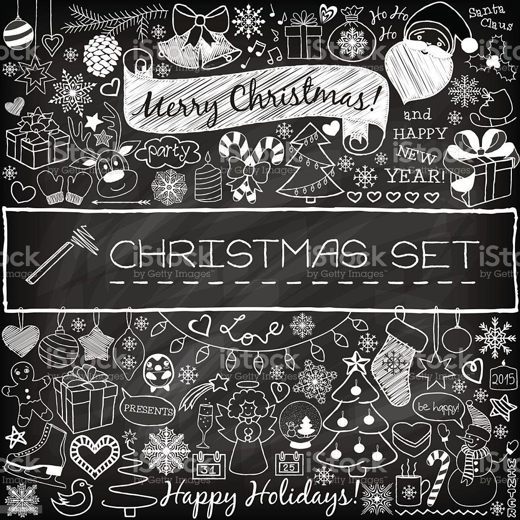 Doodle Christmas season icons vector art illustration