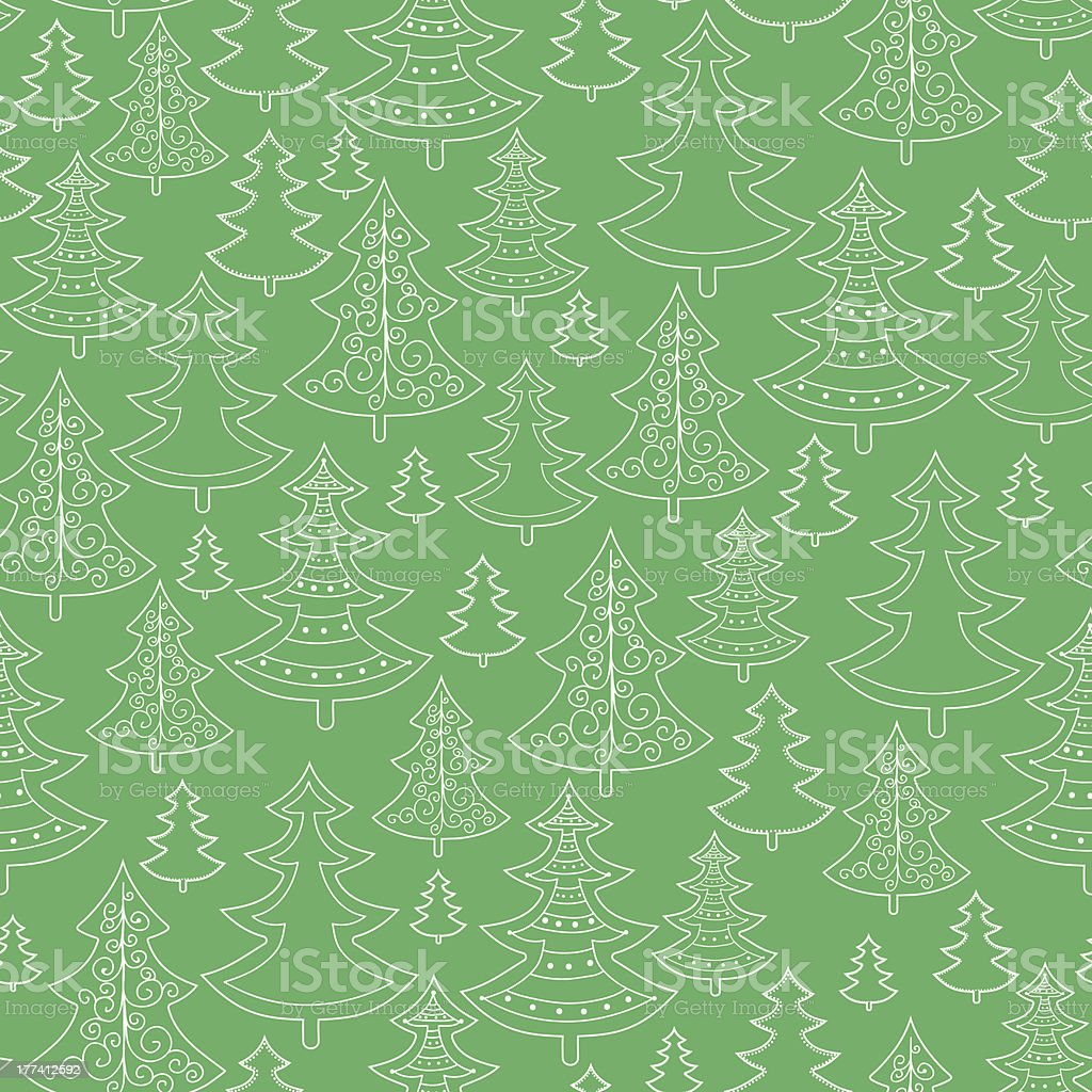 Doodle Christmas trees seamless pattern background royalty-free doodle christmas trees seamless pattern background stock illustration - download image now