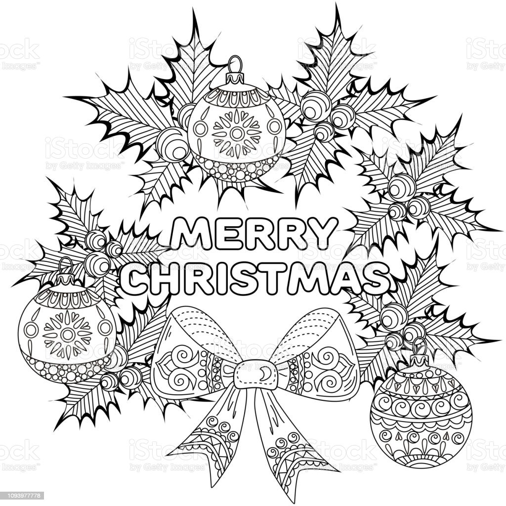 Kleurplaten Rond Kerstmis.Doodle Van De Kroon Van Kerstmis Voor Holly En Tree Ornament