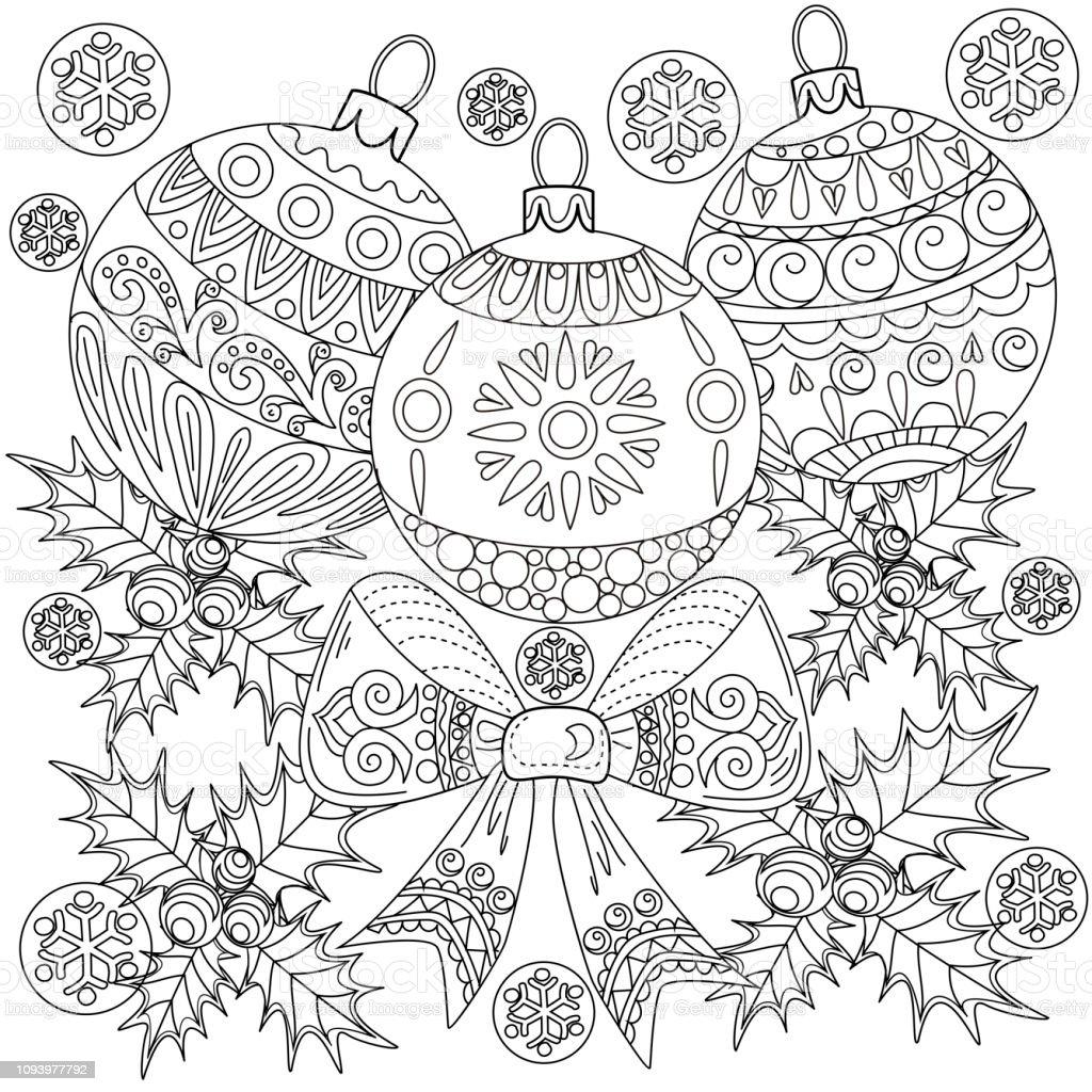 Coloriage Guirlande Fleurs.Guirlande De Noel Doodle Pour Holly Et Arbre Ornement