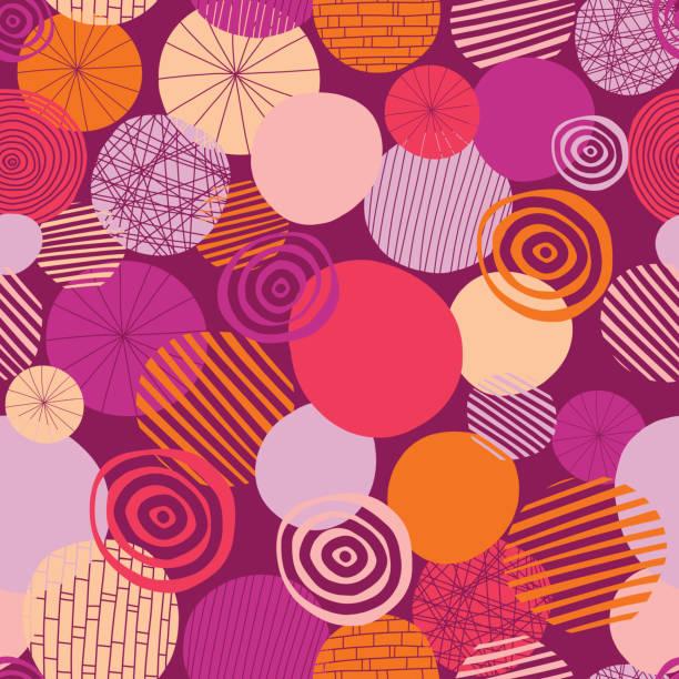 illustrazioni stock, clip art, cartoni animati e icone di tendenza di doodle circles vector seamless pattern. abstract geometric dots background. geometric shapes pink, orange, coral, and peach on a black background. young fresh modern design for women and girls - pesche bambino
