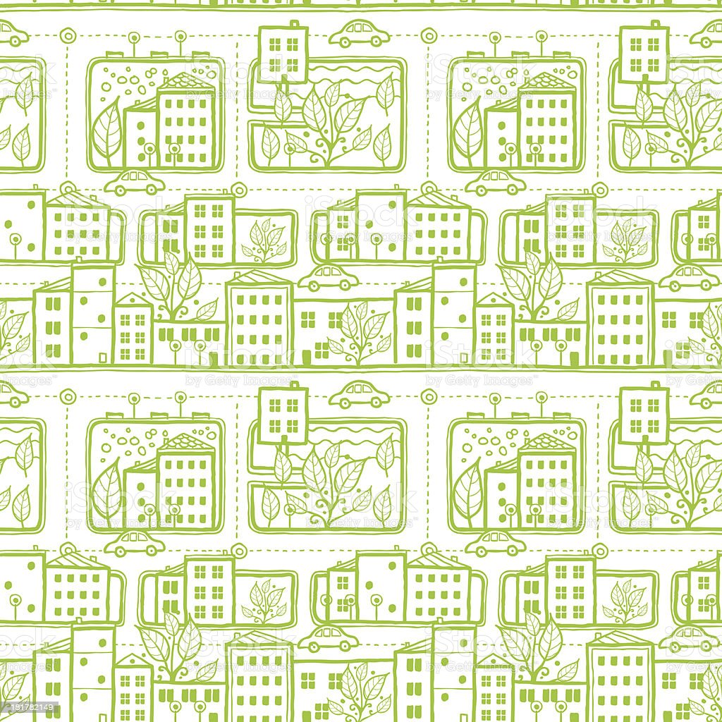Doodle city streets seamless pattern background royalty-free stock vector art