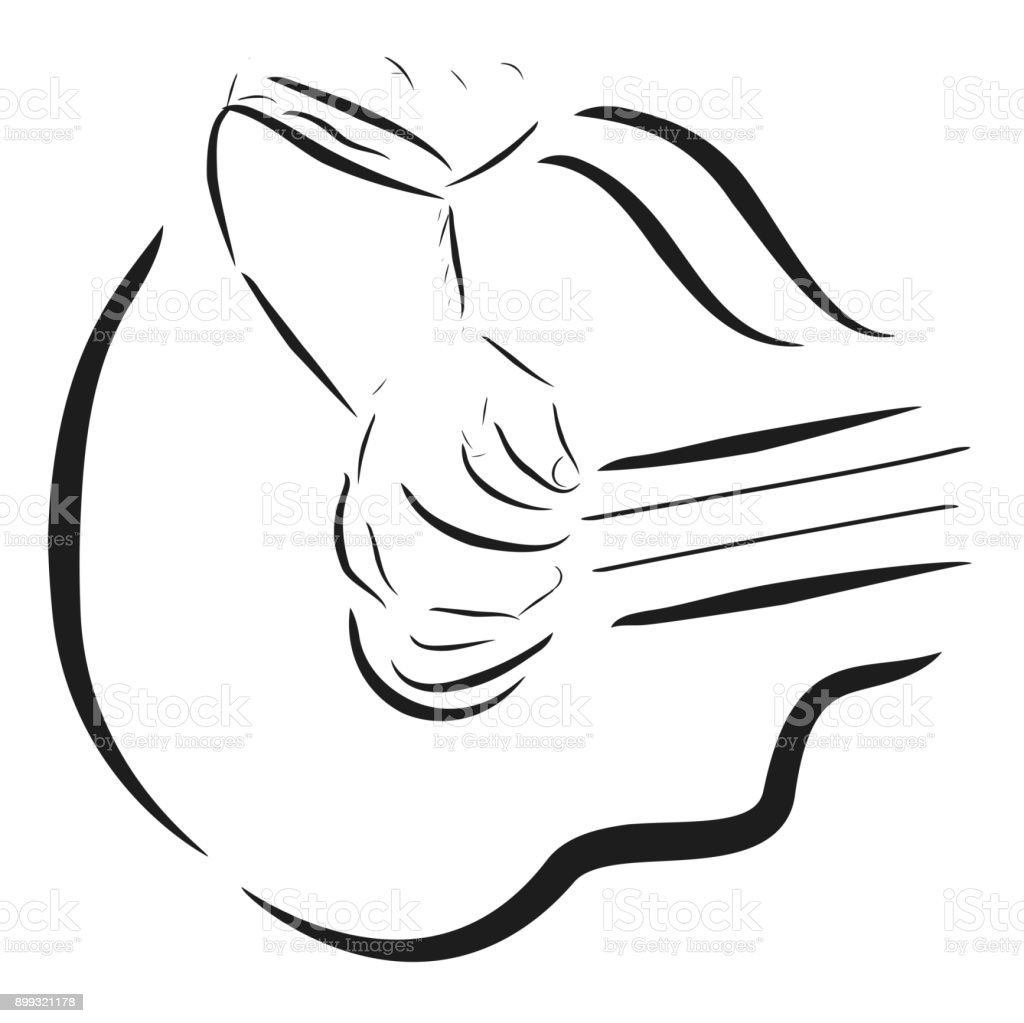 Doodle, Close Up of man or woman playing accoustic guitar vector art illustration