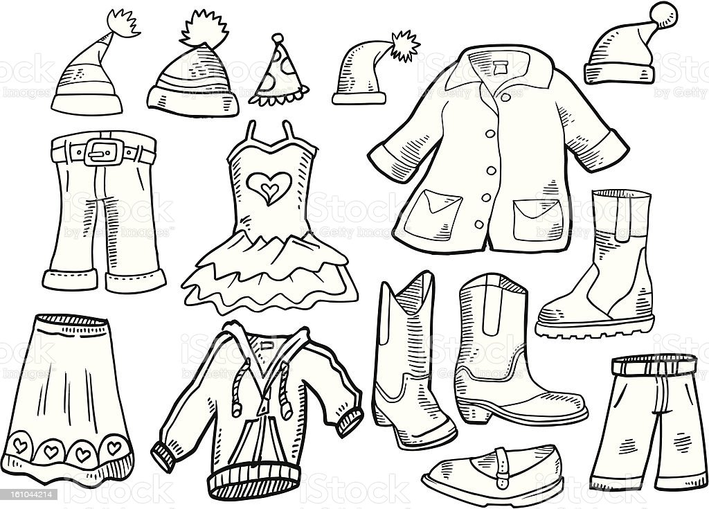 Doodle Clothes Fashion Set royalty-free stock vector art
