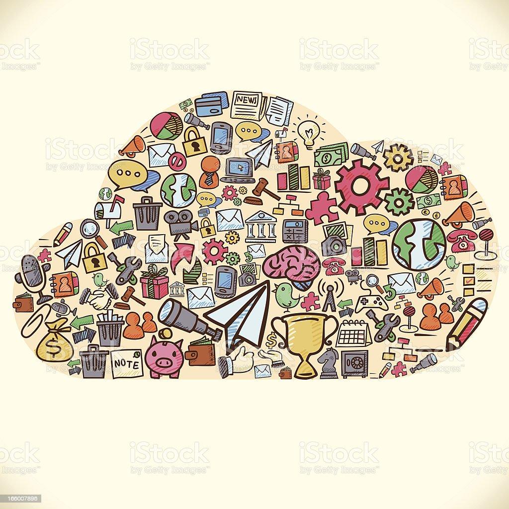 Doodle Cloud Internet royalty-free stock vector art