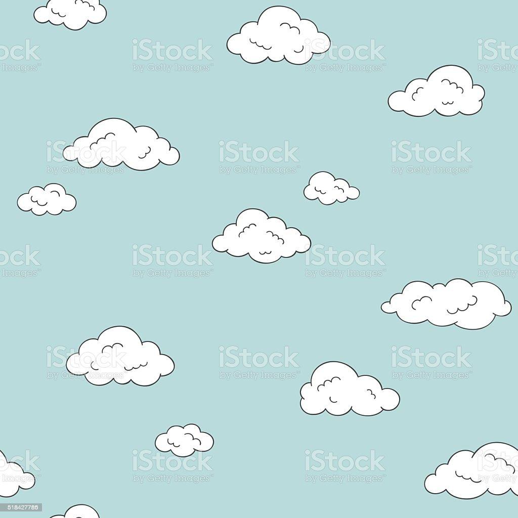 Doodle clouds seamless background vector art illustration