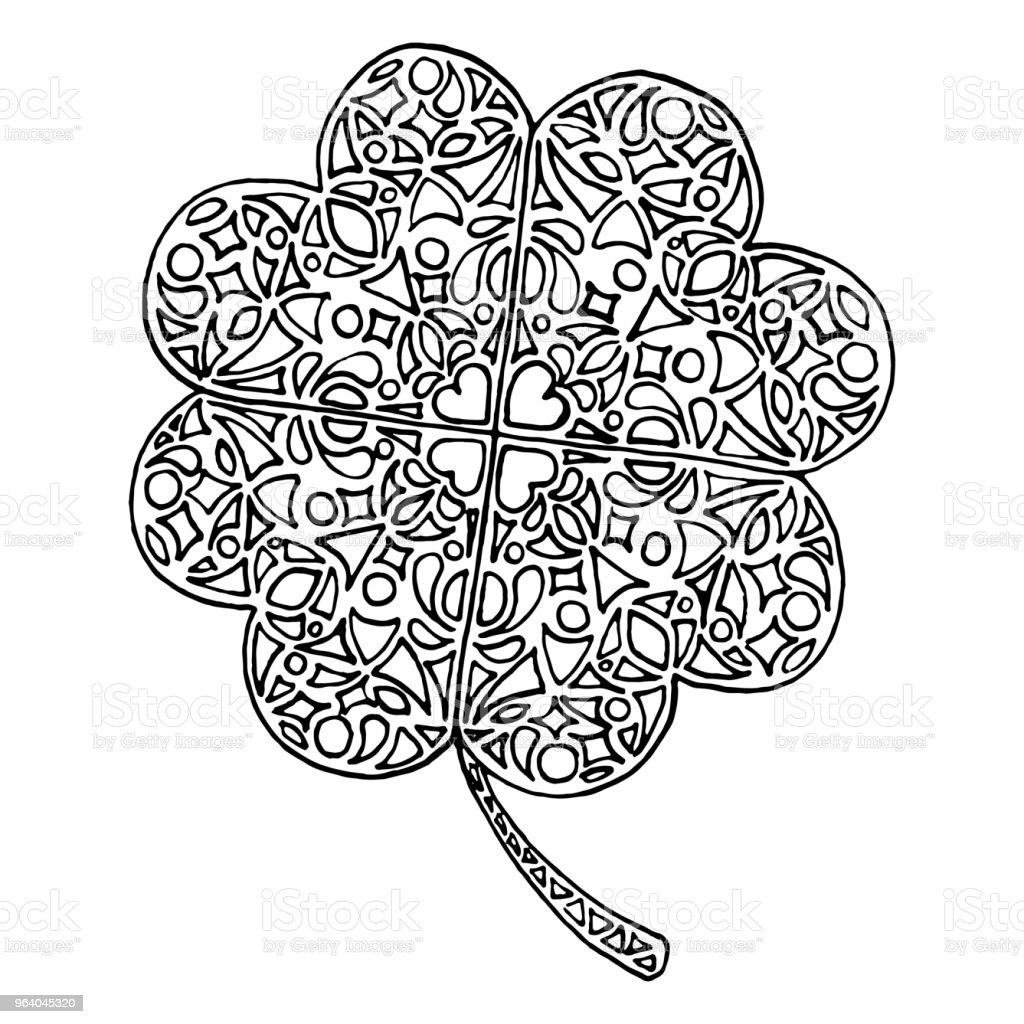 Doodle clover shamrock Saint Patrick's Day vector isolated - Royalty-free Abstract stock vector