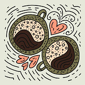 Doodle Coffee Cup Vector Illustration.