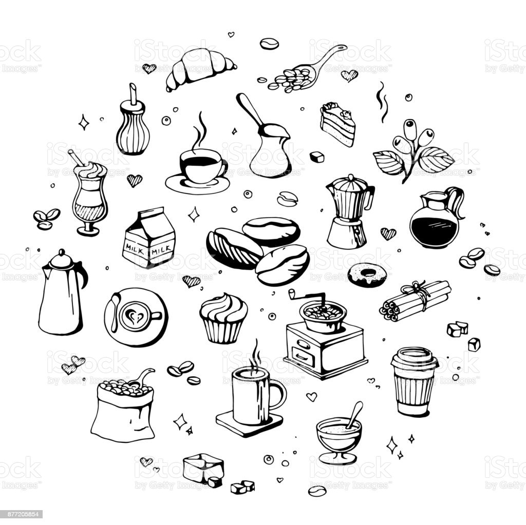 doodle coffee shop icons vector outline coffee and tea drawings for