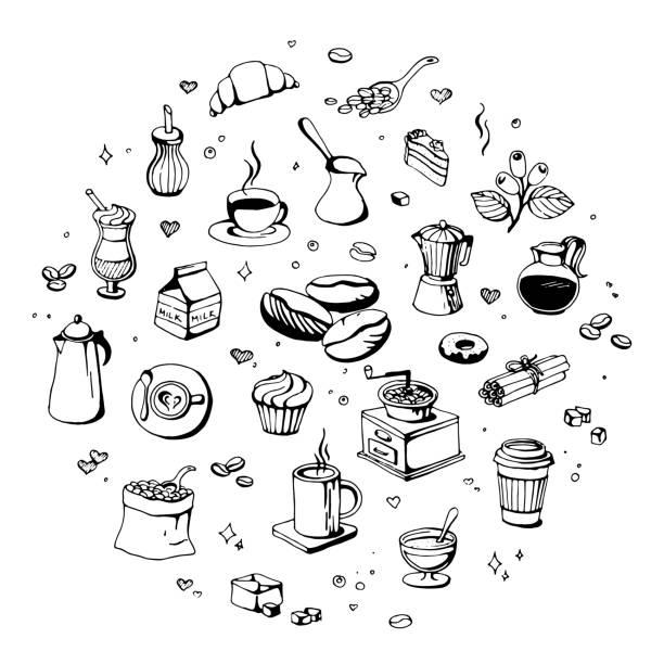 doodle-coffee-shop-symbole. umriss kaffee und tee vektorzeichnungen für café-menü - tassenkuchen stock-grafiken, -clipart, -cartoons und -symbole