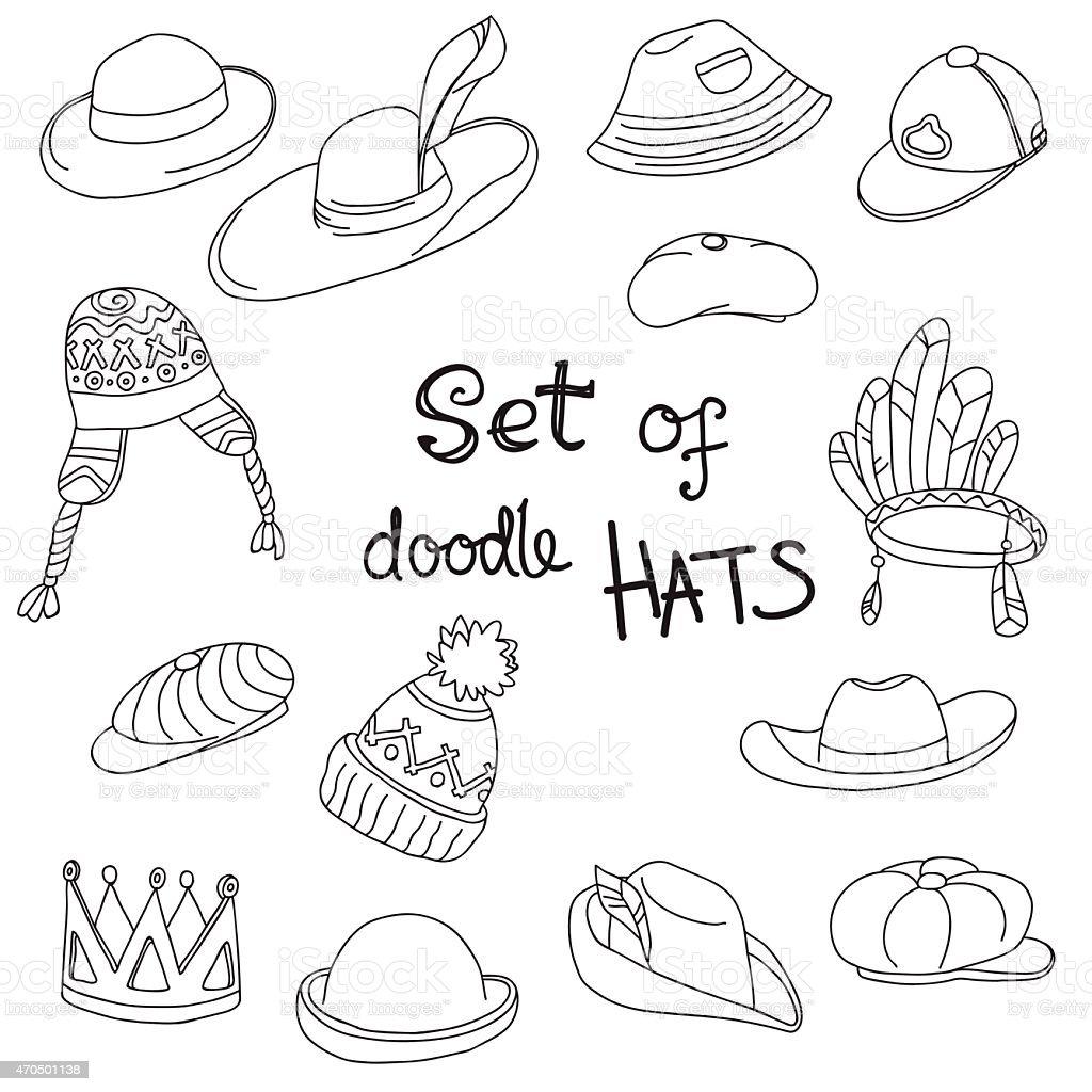 Ilustración de Doodle Colección De Sombreros Corona Indio Vaquero ...
