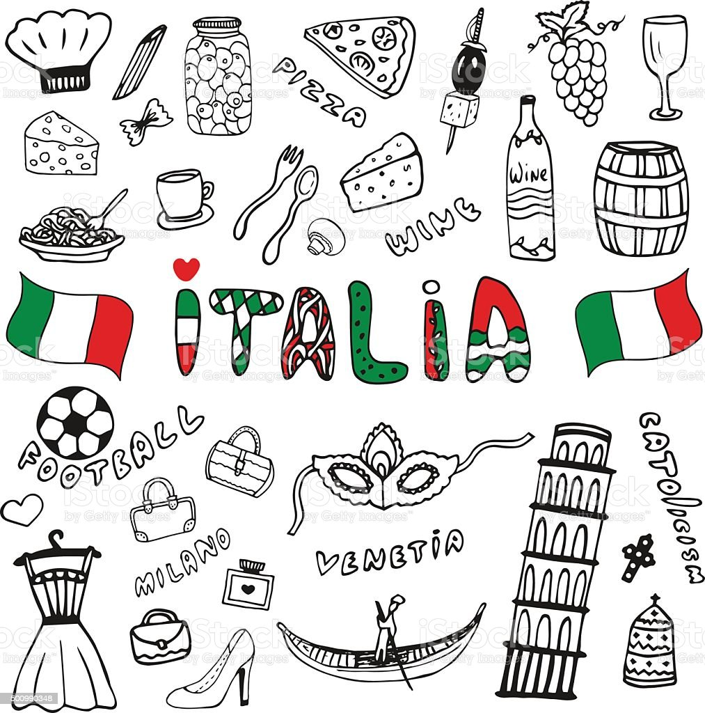 Doodle Collection Of Italy Icons Italy Culture Elements Vector Stock