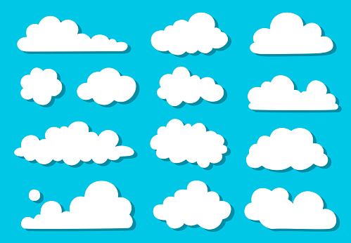Doodle collection of silhouettes clouds. Hand-drawn, doodle elements isolated on blue background.