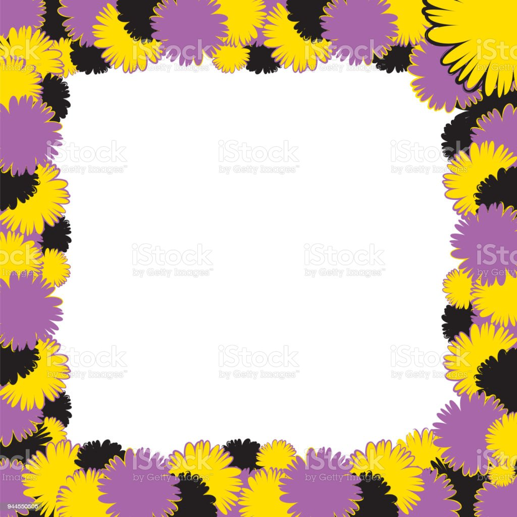 Doodle Farbe Rahmen Aus Blumen Mit Platz Für Ihren Text Nützlich Als ...