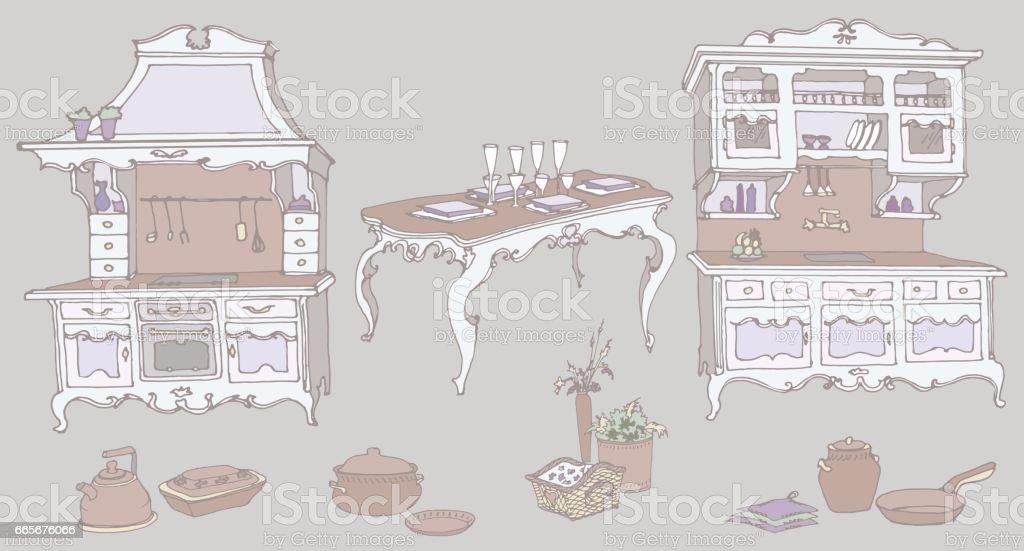 Doodle Farbe Lila Küchenmöbel Im Alten Stil Provence Lizenzfreies Vektor  Illustration