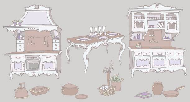 doodle farbe lila küchenmöbel im alten stil provence - schrankkorb stock-grafiken, -clipart, -cartoons und -symbole
