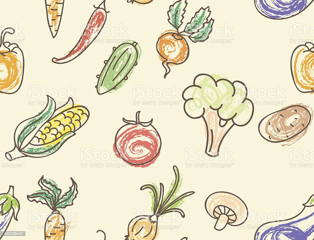 Doodle color vegetables seamless pattern royalty-free stock vector art