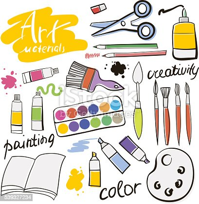 Doodle colored art materials collection. Hand drawn art icons set. Vector Illustration