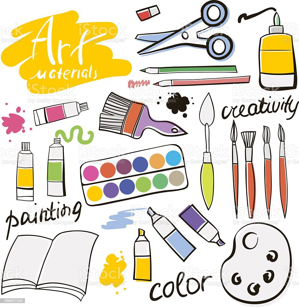 Doodle colored art materials collection. Hand drawn art icons set. vector art illustration