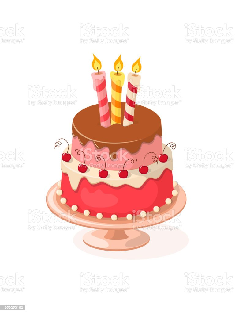 Doodle Colorful Birthday Cake With Cherries And Three Candles Stock