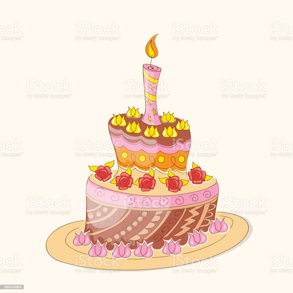 Doodle colorful birthday cake with flowers and candle stock vector doodle colorful birthday cake with flowers and candle royalty free doodle colorful birthday cake with izmirmasajfo