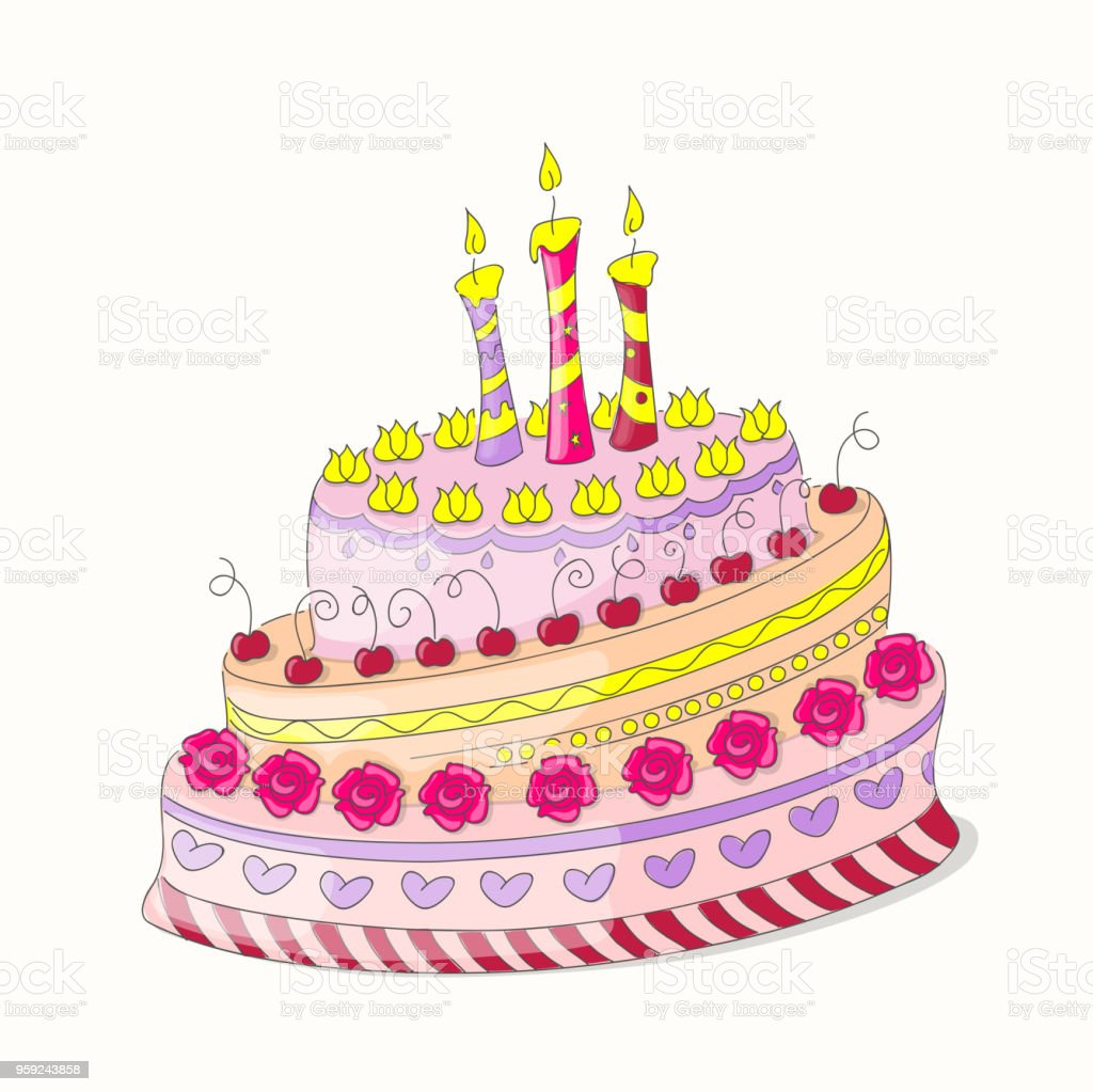 Doodle Colorful Birthday Cake With Roses And Three Candles Stock