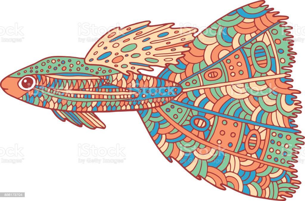 Doodle Zentangle Bunte Fische Zenkunst Malvorlagen Für Erwachsene